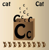 """Vector illustration of cat and english letter """"C"""" — Stock Vector"""
