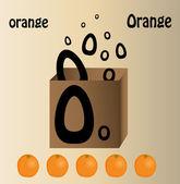 """Vector a ilustração da carta laranja e inglês """"o"""" — Vetor de Stock"""