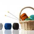 Basket with wool - Stock Photo