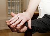 Just Married - Holding Hands — Stock Photo