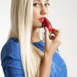 Beauteful blondy girl with strawberries — Stock Photo