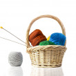Colorful ball of wool with knitting needles in a basket — Stock Photo
