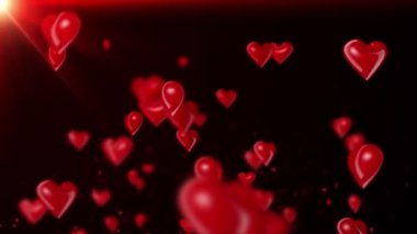 Heart-Shaped Ballons Flying (Red) - Loop — Stock Video