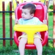 Little baby boy swinging — Stock Video