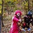 Stock Video: Girls playing in Autumn