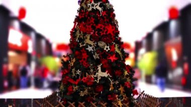 Christmas Tree and in shopping mall — Stock Video