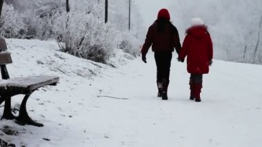 Children walking in snow — Stock Video