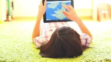 Teenage Girl Using Digital Tablet — Stock Video