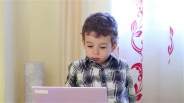 Little boy watching laptop — Stockvideo