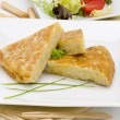Spanish Cuisine. Spanish Omelette. Tortilla de patatas. - Stock Photo