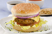 Vegetarian tofu cheeseburger. — Stock Photo