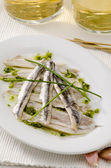 Spanish Cuisine. Marinated fresh anchovies. Boquerones. — Stock Photo