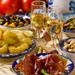 Spanish Cuisine. Assorted tapas on ceramic plates. — Stock Photo #29742865