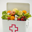 Healthy food. First aid box filled with fruits and vegetables. — Stock Photo #51190721