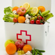 Healthy food. First aid box filled with fruits and vegetables. — Stock Photo #51190737