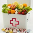 Healthy food. First aid box filled with fruits and vegetables. — Stock Photo #51190741