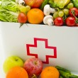 Healthy food. First aid box filled with fruits and vegetables. — Stock Photo #51190749