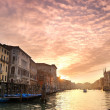 Beautiful sunset in water street — Stock Photo