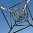 High voltage tower 1-looking up — Stock Photo