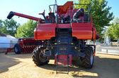 Red harvester and seeder — Stock Photo