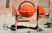 Orange cement mixer — Stok fotoğraf