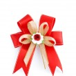Christmas red bow isolated on white — Stock Photo