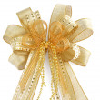 Shiny golden Christmas bow isolated on white — Stock Photo