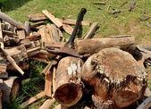 斧で薪を切断 — ストック写真