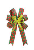 Red and green Christmas gift plaid bow — Stock Photo