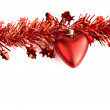 Heart and red tassel Christmas decorations — Stock Photo