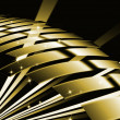 Abstract line metal gold color with dark background — Stock Photo