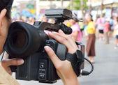 Cameraman recording video — Stock Photo