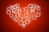Red abstract circle with heart concept background — Stock Photo
