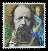 Great Britain postage stamp shows Alfred Lord Tennyson — ストック写真