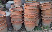 Piles of old terracotta potted — Stok fotoğraf