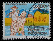Indonesien-Briefmarke zeigt an Reisfeldern arbeitenden Bauern — Stockfoto