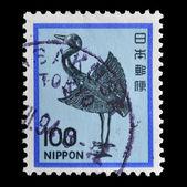 Japan postage stamp, silver crane bird — Zdjęcie stockowe