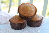 Banana muffins on cloth background — Photo