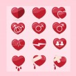 12 set of red hearts icon — Stock Vector #51155423