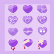 12 set of purple hearts icon — Stock Vector #51155425