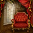 Stock Photo: Red vintage room