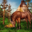 Stock Photo: Brown horse in a camp