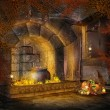 Fantasy fireplace with cornucopia decorations - Stock Photo