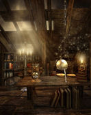 Fantasy room in the attic — Stock Photo