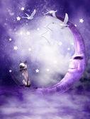 Fantasy purple moon — Stock Photo