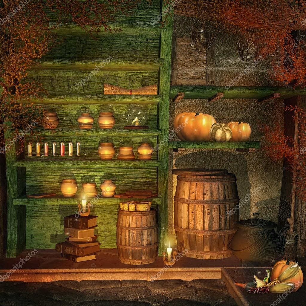 Fantasy room with pumpkins, bats, candles, and magic potions  — Stock Photo #12651763