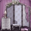 Vintage room with a screen — Stock Photo