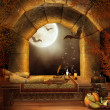 Fantasy window with bats - Stock Photo