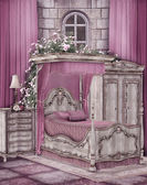 Pink bedroom — Stockfoto