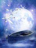 Fantasy boat with swans — Stock Photo